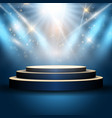 podium under spotlights vector image
