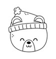 polar bear head with hat merry christmas thick vector image vector image