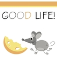 Post card mouse and cheese vector image vector image