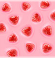 realistic pieces of strawberries float in the vector image vector image