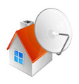 satellite dish and house vector image vector image