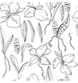 seamless floral pattern with romantic orchid vector image