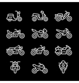 set line icons motorcycles vector image vector image