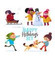 set multiracial kids playing in winter girls vector image