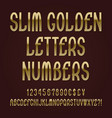 slim golden letters numbers dollar yen pound vector image vector image