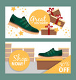 summer fashion green man shoe banners vector image vector image