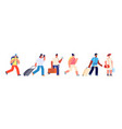 tourists walking happy young tourist travel vector image vector image