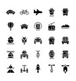 transportation icons set in flat style symbols vector image