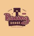 urban racing emblem for t-shirt vector image vector image