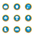 vacationer icons set flat style vector image vector image
