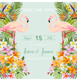Wedding Card Tropical Flowers Flamingo Bird vector image vector image