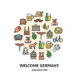 welcome germany round design template black thin vector image vector image