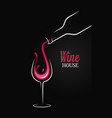 wine bottle with wine glass splash on black vector image vector image