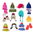 winter hat cartoon headwear cap scarf and other vector image vector image