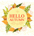 wreath of hand drawn autumn leaves round frame vector image