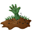 zombie hand coming out of the earth vector image