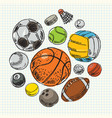 freehand drawing sport balls vector image