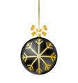 black christmas ball with ribbon and bow vector image