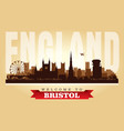 bristol united kingdom city skyline silhouette vector image vector image
