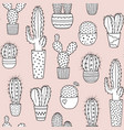 cacti seamless pattern background vector image