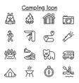 camping icons set in thin line style vector image vector image