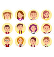 children face front view close-up school selfie vector image vector image