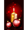 christmas balls and candle red vector image