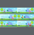 city park with people spending their time posters vector image vector image