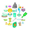 cleaning service icons set cartoon style vector image vector image