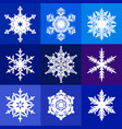 collection of white snowflakes isolated on blue vector image vector image