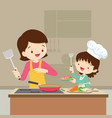 daughter cooking with mam vector image vector image
