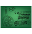 engine and car wheel on a green background vector image vector image