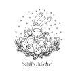 Family of rabbits tree branches and bird vector image vector image