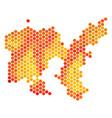 fired hexagon limnos greek island map vector image vector image