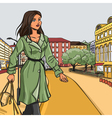 Girl in green raincoat after shopping vector image vector image