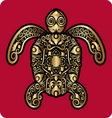 Golden turtle ornament vector image