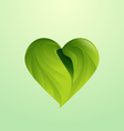 Green leaves form heart shaped icon logo vector image vector image