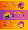 halloween horizontal banners colorful set vector image vector image