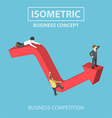 Isometric businessman climbs up to the top of grap vector image vector image