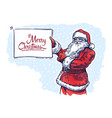 jolly santa with sign plate in his hands vector image