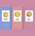 premium brand best quality choice golden label set vector image vector image