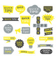 quick tips helpful tricks and suggestions logos vector image vector image