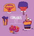set of greeting emblems in handmade cartoon style vector image vector image