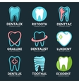 Set of tooth logo design template Dental logo vector image