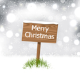 snow covered wooden billboard Christmas snowflakes vector image vector image