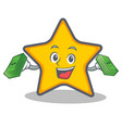 star character cartoon style with money vector image vector image