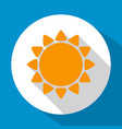 sun flat icon yellow color with long shadow on vector image vector image