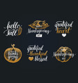 thanksgiving lettering with sketches for vector image vector image