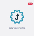 two color swirly arrow pointing upwards icon from vector image vector image
