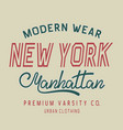 typography new york label vector image vector image